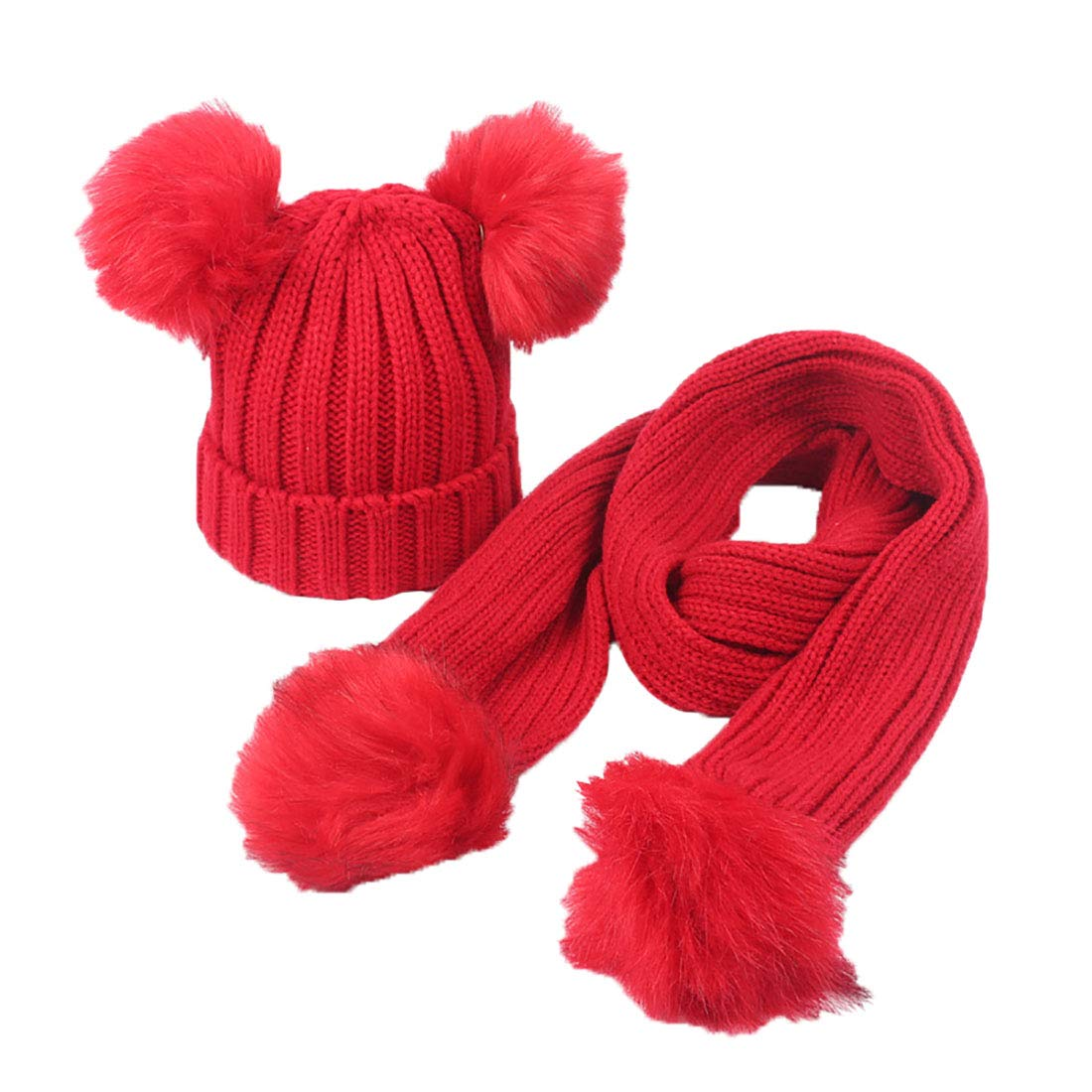 Boomly Kids Knited Winter Pom Pom Hat+ Neck Scarf Children Warm Solid Color Beanie Cap Neck Warmer