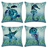Royalours Cotton Linen Throw Pillow Covers Ocean Marine Animal Set Outdoor Decorative Pillow Cases Cushion Cover for Home Sofa Office 18''x 18'' (Blue Ocean Style)