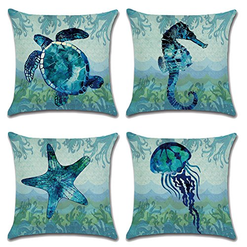 Royalours Cotton Linen Throw Pillow Covers Ocean Marine Animal Set Outdoor Decorative Pillow Cases Cushion Cover for Home Sofa Office 18''x 18'' (Blue Ocean Style) by Royalours