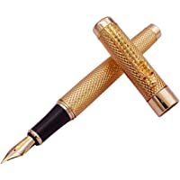 Jinhao Brand New Golden Dragon Red Crystal Eyes Fountain Pen with Push in Style Ink Converter