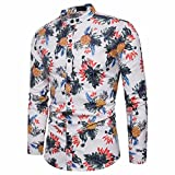 Leedford Clearance Shirts! Men's Shirt Printed Slim Fit Long Sleeve Casual Button Shirts Formal Top Blouse (M, White)