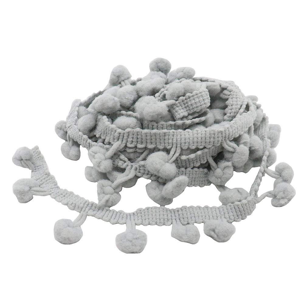 fa18727d05 2yards/lot 10mm Pom Pom Trim Ball Fringe Ribbon DIY Sewing Accessory Lace  (Color 12 Grey)