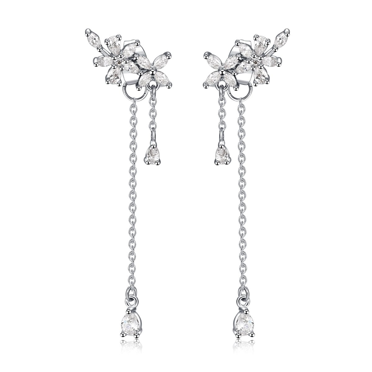 Platinum Plated Leaves Wrap Earrings Crawler for Women Dainty Flowers Threader Tassel Chain