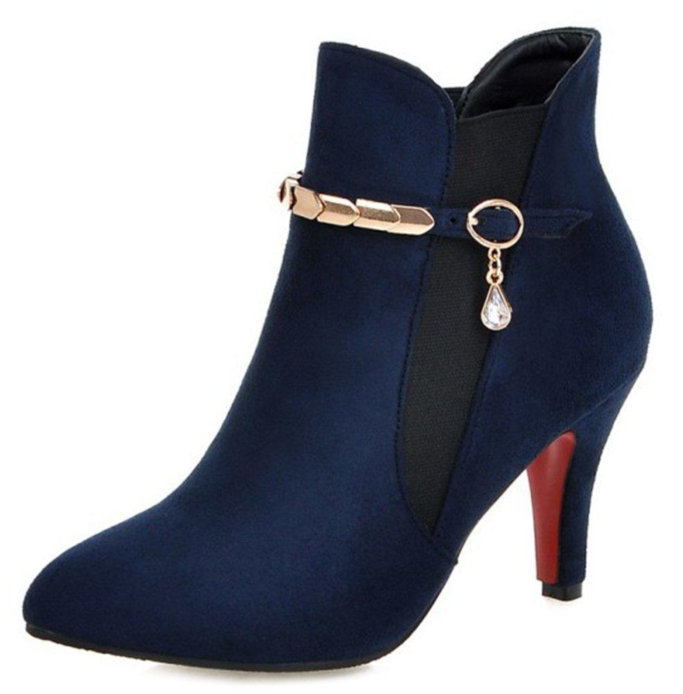 Easemax Boots Femme Elégant Talon Aiguille Low Bleu Bottines Boots Bottines Bleu 8202b0f - automaticcouplings.space