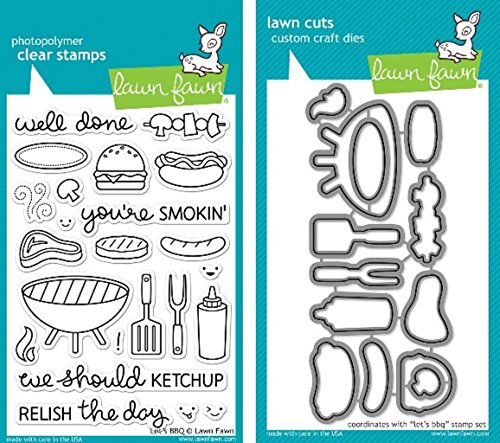 - Lawn Fawn Let's BBQ Clear Stamp and Die Set - Includes One Each of LF889 (Stamp) & LF890 (Die) - Bundle Of 2