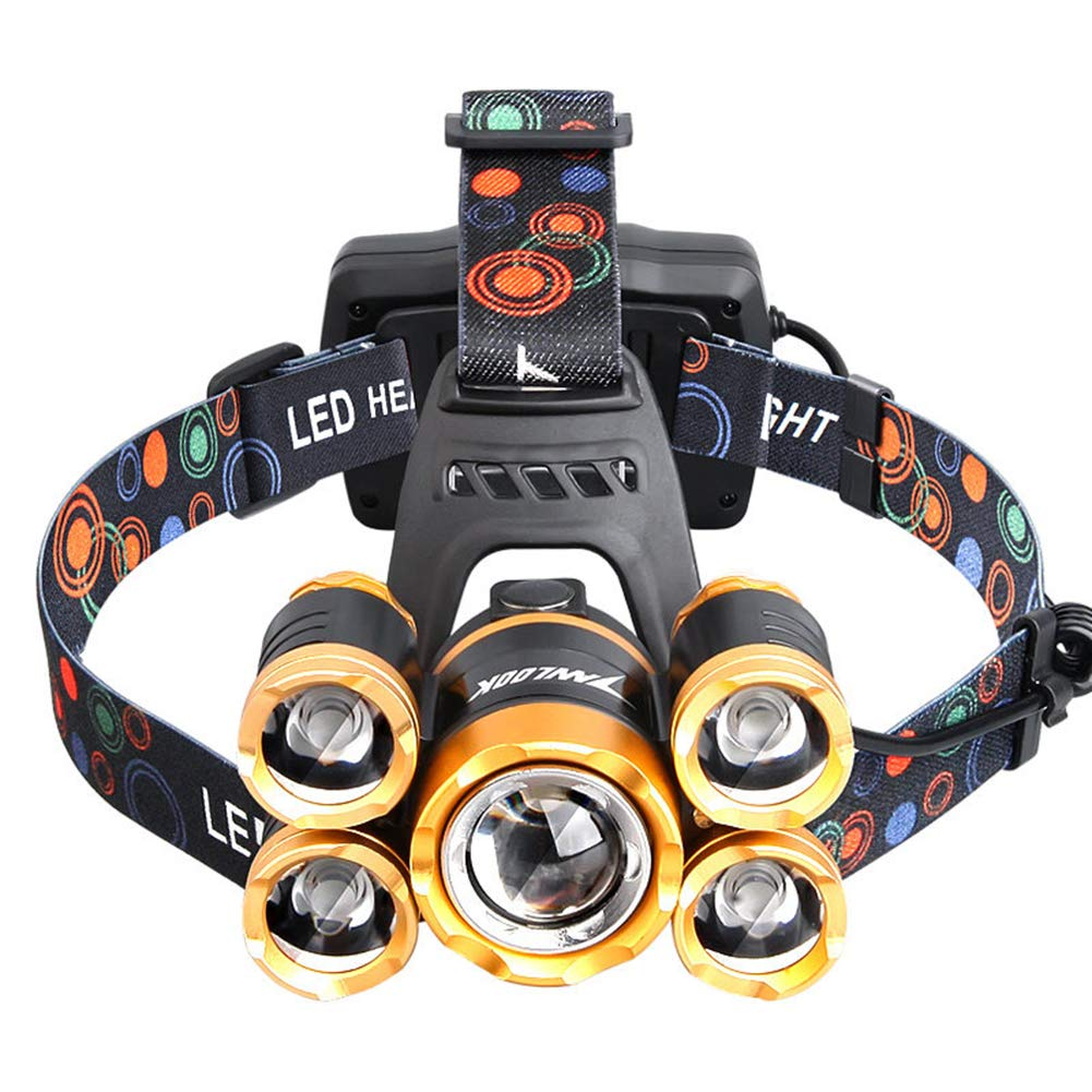YXZN LED-Scheinwerfer USB-Lade Gestalt Sensation Rotierende Fokussierung Display Power Headset Taschenlampe