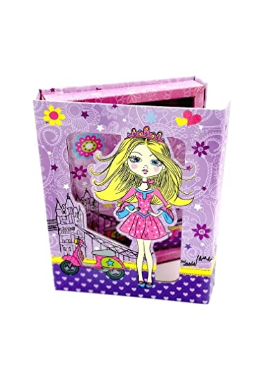 Pack Of 4 Beautiful Diva Fashionista Theme Lock Diary In A Hard Case Cover For Birthday