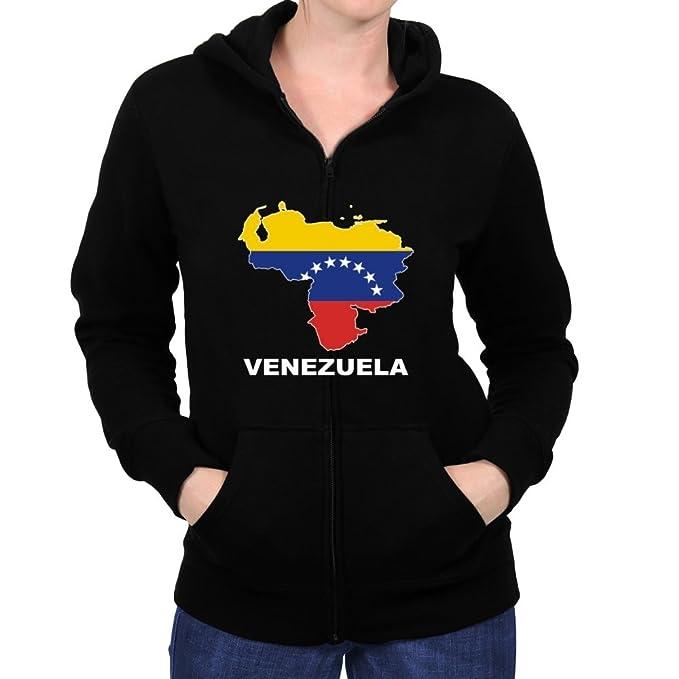 Teeburon Venezuela Country Map Color Sudadera con cremallera mujer: Amazon.es: Ropa y accesorios