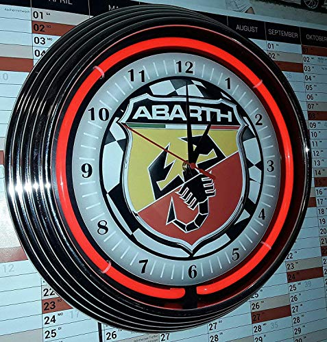 NEON Clock Abarth Checkered Flag #1 Badge Sign WALLCLOCK Shining with RED NEON Rim!-Working with Silent - Checkered Badges