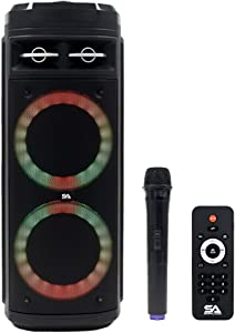 Seismic Audio - SA-KP206 - Powered Portable Dual 6.5 Inch Party & Karaoke Speaker - Home Bluetooth, Wireless Microphone and Remote