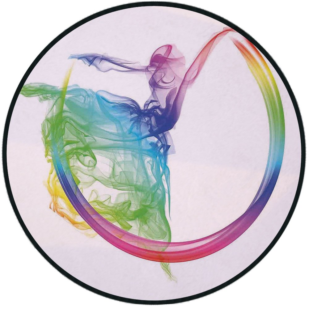 Printing Round Rug,Abstract Home Decor,Smoke Dance Shape Silhouette of Dancer Ballerina Rainbow Colors Fantasy Decorative Mat Non-Slip Soft Entrance Mat Door Floor Rug Area Rug For Chair Living Room,