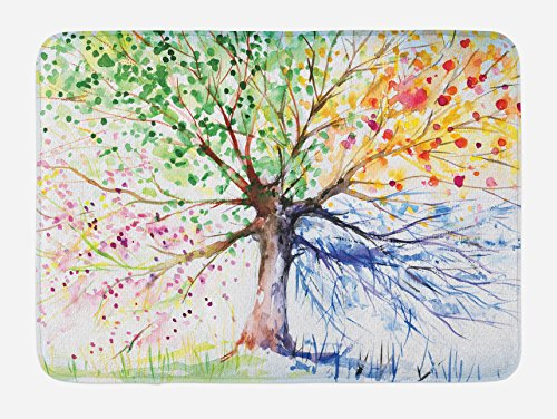 Ambesonne Tree Bath Mat, Watercolor Style Tree with Colorful Blooming Branches 4 Seasons Theme, Plush Bathroom Decor Mat with Non Slip Backing, 29.5
