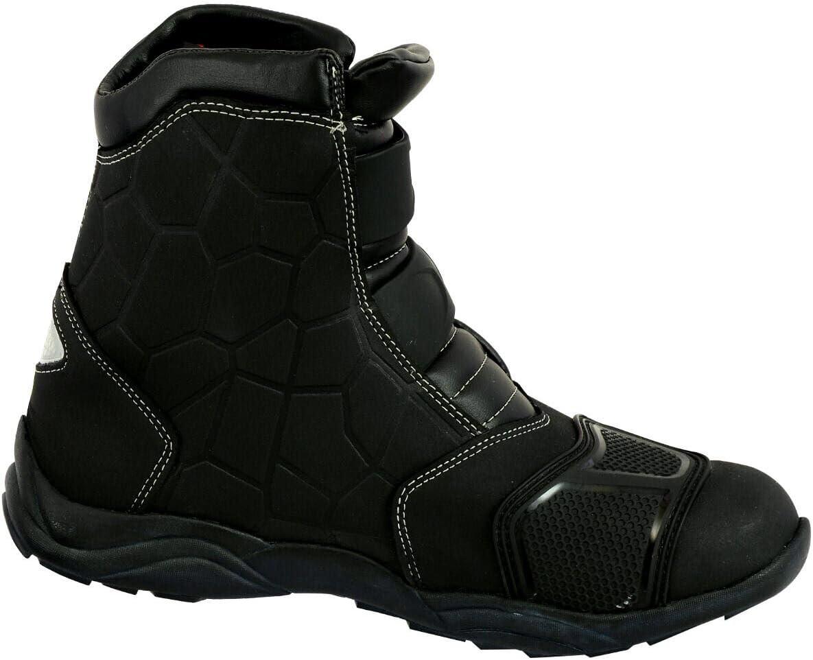 Taille UK 6 Noir Moto Bottes De Course Styliste Courte Bottine Moto Hors Route Touring Chaussures Imperm/éable Blind/é Pour Hommes Gar/çons