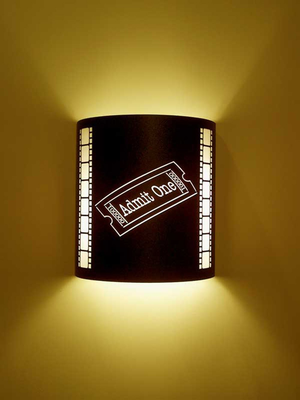 Admit One Ticket Black Home Movie Theater Sconces w/ Filmstrips
