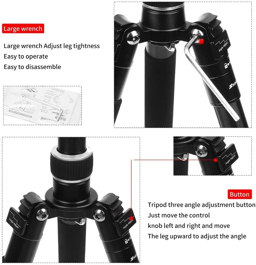 Crystalzhong Camera Tripod Compact Lightweight Aluminum Alloy 4-Sections Camera Tripod for DSLR Stand with Ball Head 10kg Max Load 1.4m Max Height Color : Black, Size : One Size