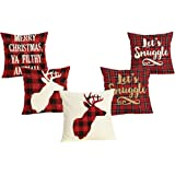 5 Pack Red Black Christmas Scottish Buffalo Checkers Plaid Pillow Cover,Winter Deer,Let's Snuggle Quotes Home Decorative Throw Pillow Case Cushion Cover for Sofa Couch 18 x 18 Inch