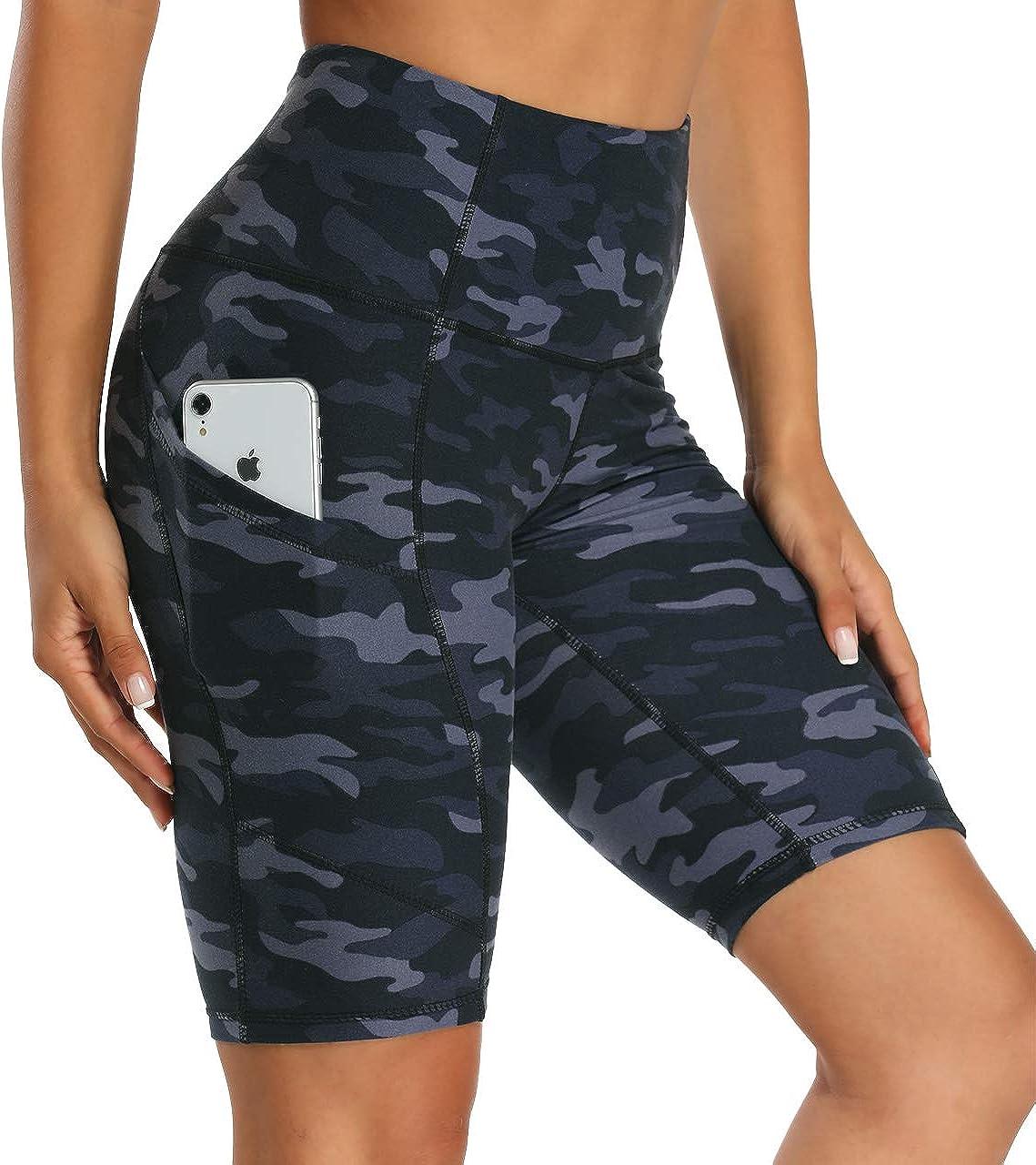 Hohe Taille Dehnbare Laufshorts mit Taschen HLTPRO Yoga Workout Biker Shorts f/ür Damen