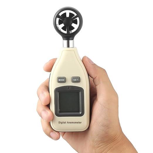ulable Mini escala digital de mano medidor de velocidad del viento anemómetro termómetro