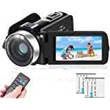 LAIDUOAO 2.7K Video Camera Camcorder Vlogging Camera WiFi IR Night Vision 1080P Camcorder with 16X Zoom, 2 Rechargeable Batte