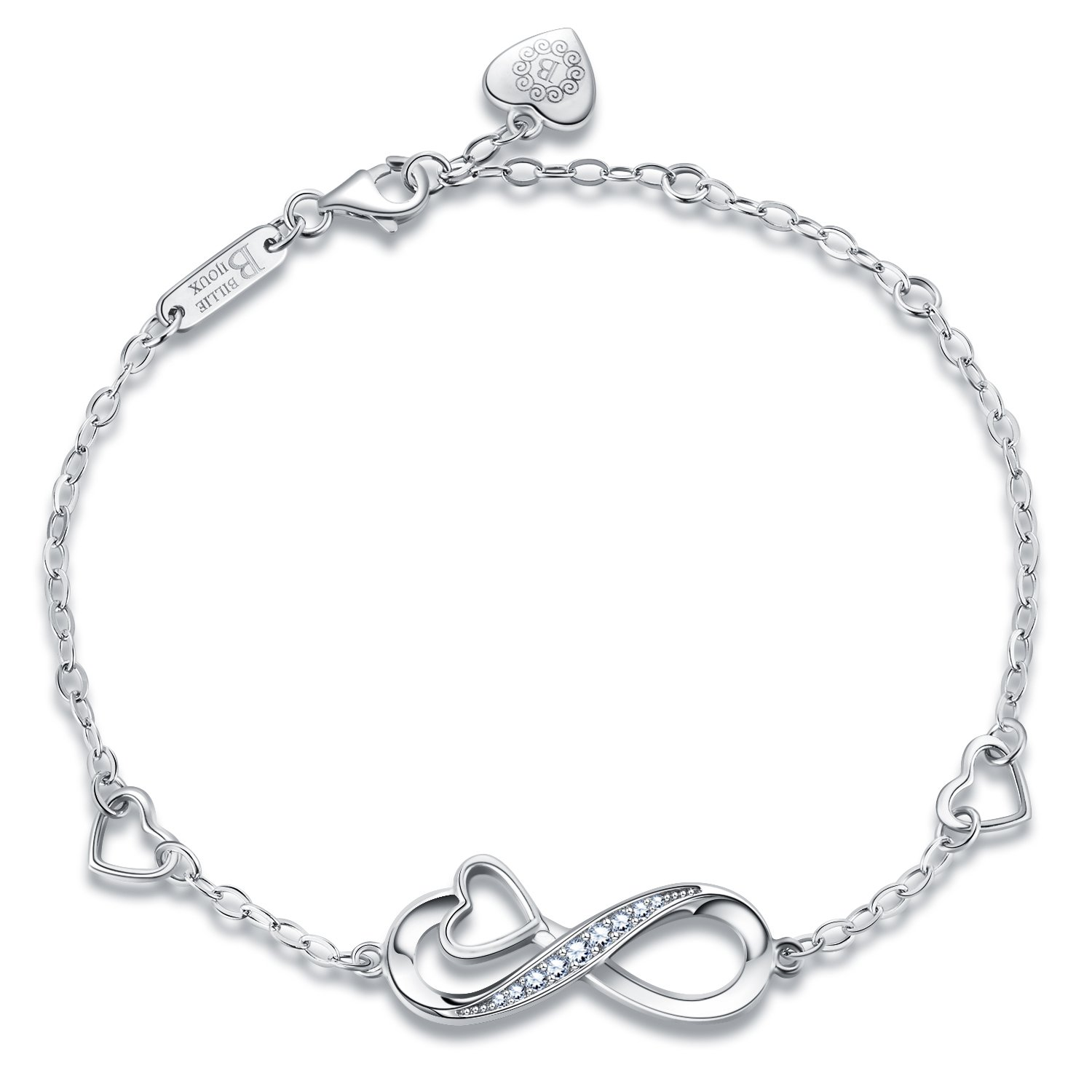 Billie Bijoux 925 Sterling Silver Infinity Heart Endless Love Symbol Charm Adjustable Bracelet White Gold Plated Women' s Gift for Graduation Birthday Valentine's Christmas Day by Billie Bijoux (Image #3)