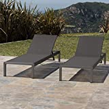 Cheap Crested Bay Patio Furniture | Outdoor Grey Aluminum Chaise Lounge with Dark Grey Mesh Seat (Set of 2)