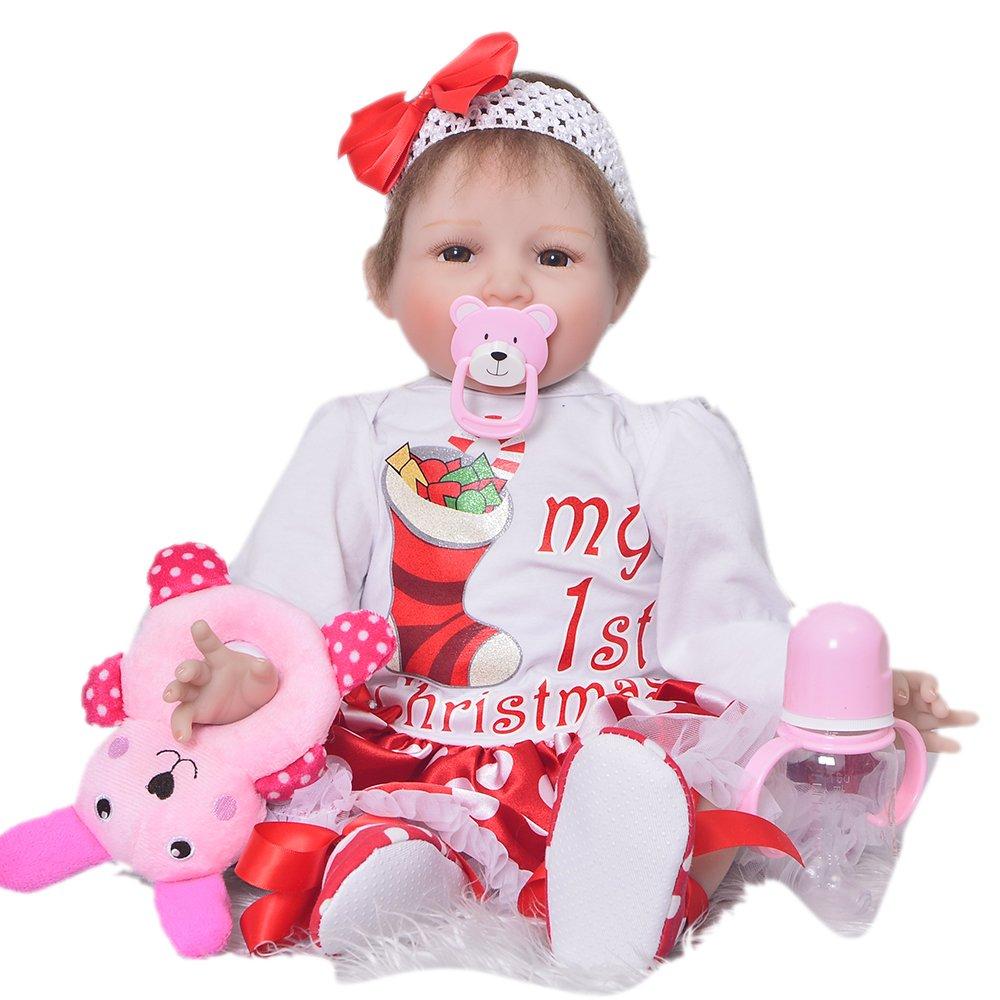 KEIUMI Realista de Silicona Suave renacer bebé muñecas de 22 Pulgadas Realista bebés niña Sonriente muñecas de Juguete con los Ojos Abiertos niños Regalo de cumpleaños