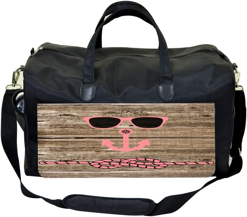 Hipster Beach Face on Wood Sports Bag