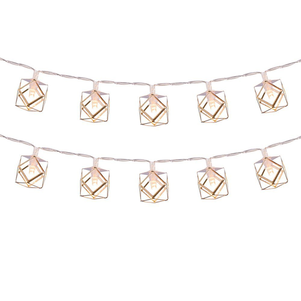 LuxLumi Geo-Silver Pendant String Lights Batteries Included with 20 Caged Copper Metal Soft White LED Lights for Home Decor Living Room Bedroom Dorm Teen Room Graduation Party Bridal /& Baby Shower