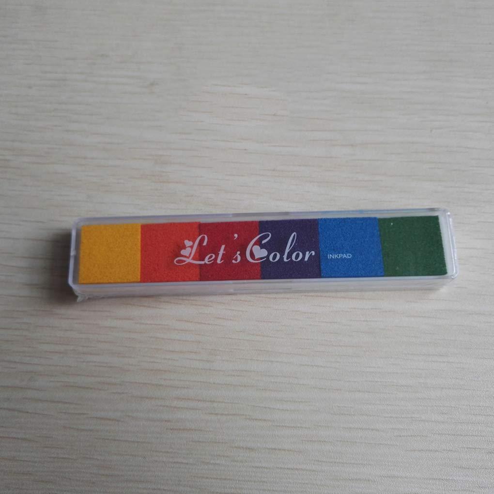 Ruiboury Arcobaleno Ink Pad Gradiente Impronte Bollo Impronte digitali digitali a Colori Stamp Kindergarten Fai da Te Stampa Inkpad Colore Casuale