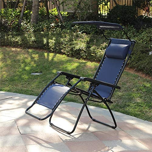 Winsome House Zero Gravity Patio Chaise Lounge with Canopy Blue