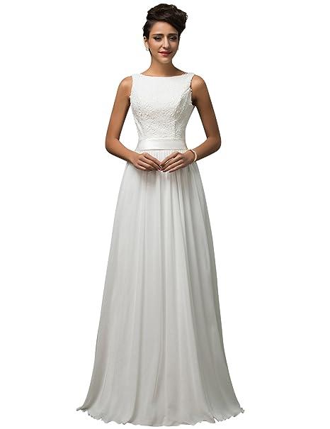GRACE KARIN Vestido de Novia Blanco Largo Elegante para Mujer de Fiesta para Boda Ceremonia Maxi: Amazon.es: Ropa y accesorios