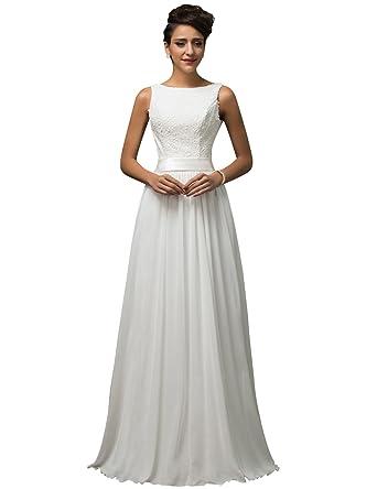 7e910b96b GRACE KARIN Vestido de Novia Blanco Largo Elegante para Mujer de Fiesta  para Boda Ceremonia Maxi  Amazon.es  Ropa y accesorios
