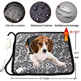 """Pet Heating Pad, Dog Cat Electric Heating Pad Waterproof Adjustable Warming Mat with Chew Resistant Steel Cord 17.7""""x17.7"""""""