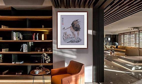 Amazon.com: Jiangnanruyi Arte León Original Pintado a Mano ...