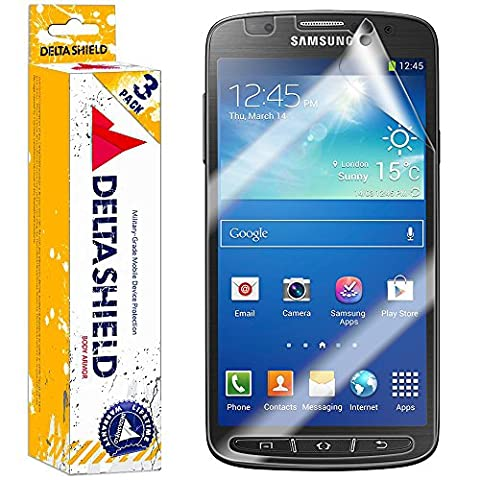 [3-PACK] DeltaShield BodyArmor - Samsung Galaxy S4 Active Screen Protector - Premium HD Ultra-Clear Cover Shield w/ Lifetime Replacement - Anti-Bubble & Anti-Fingerprint Military-Grade (Android S4 Privacy Screen)