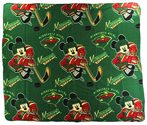 The Northwest Company NHL Minnesota Wild Mickey Mouse Character Fleece Throw, 50 x 60-inches