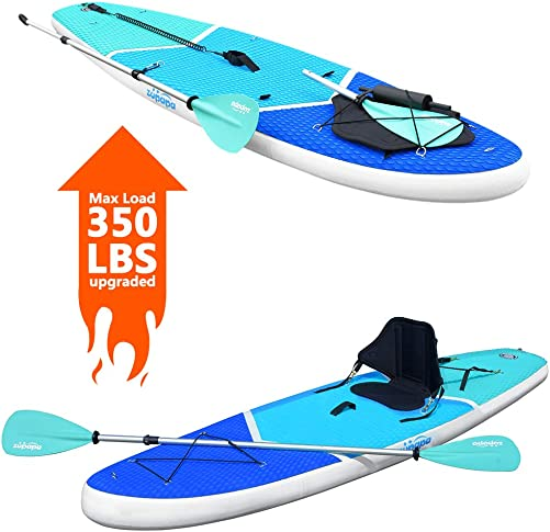 Zupapa 2020 Upgraded Inflatble 10FT Stand Up Paddle Board with 3-Year Warranty, Fit for All Skill Levels Paddlers Adults Youth, Including 3 Removable Fins and Kayak Seat