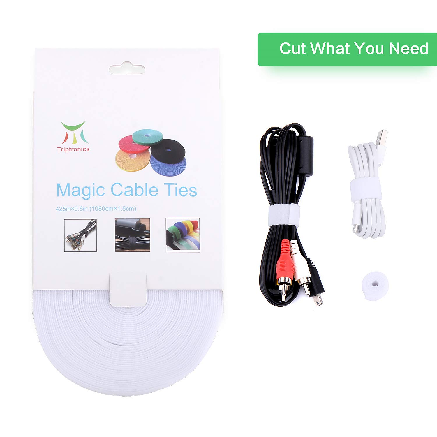 Roll Reusable Cord Organizer Keeper Holder Fastening Cable Ties Straps for Earbud Headphones iPhone Wire Wrap Management Hook and Loop Roll Cable Management … White