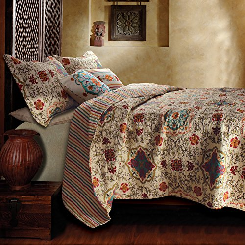 King Size Cream with Teal Floral & Reversible Stripe Patterns Quilt Set, 5 Piece