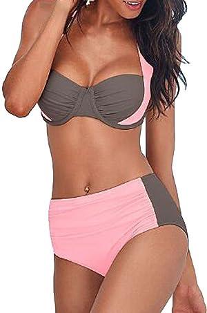 Face N Face Womens Swimsuit Halter Neck Color Block Padded Push Up Bikini Set XX-Large Pink