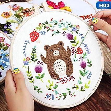 2020 1PC Europa Bricolaje Cinta Flores Bordado Hecho A Mano Sampler Kit For Principiantes De La Costura Kits De Punto De Cruz Artes Artes De Costura Decoración (Color : H03)
