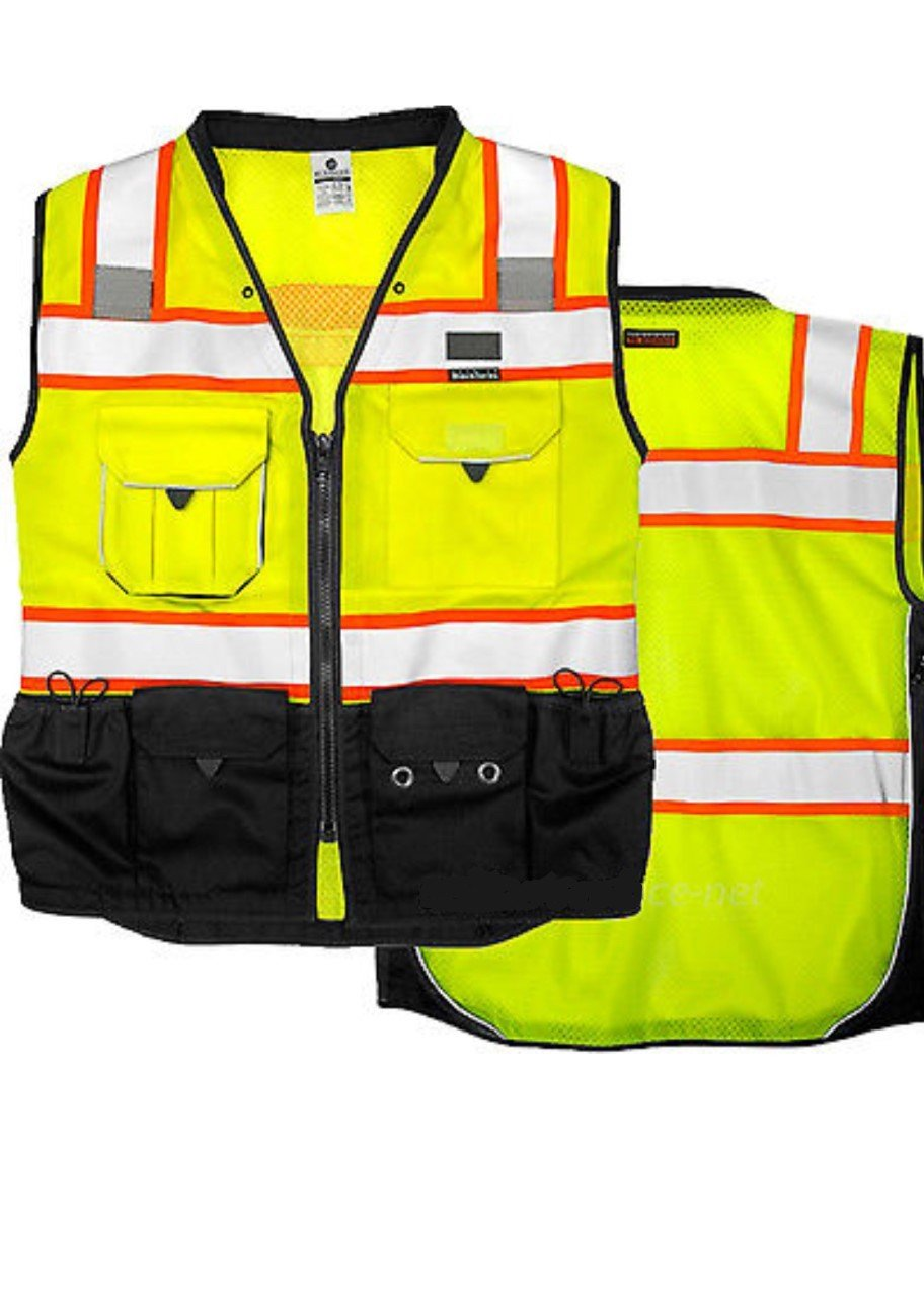 Vero1992 Vest Mens Class 2 Black Series Serveyors Utility Pockets Safety Vests Premium Black Series Serveyors Vest (Extra Large, Yellow/Black) by Vero1992