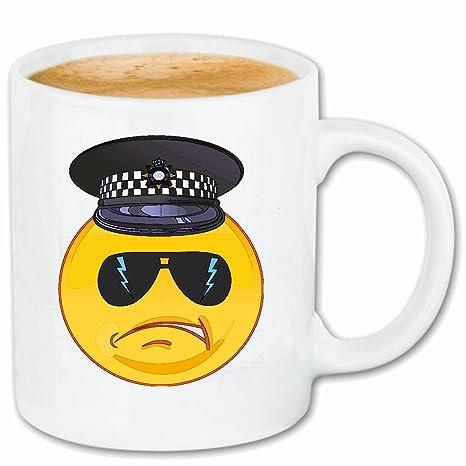 Taza párrafo café SONRIENTE como oficial de policía con ...