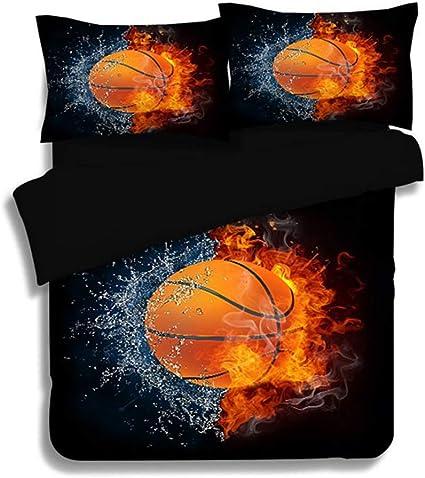 ZWNSWD WMA-New Home Sports - Juego de 4 Forros de Cama para balón de fútbol, diseño de balón de Baloncesto: Amazon.es: Hogar