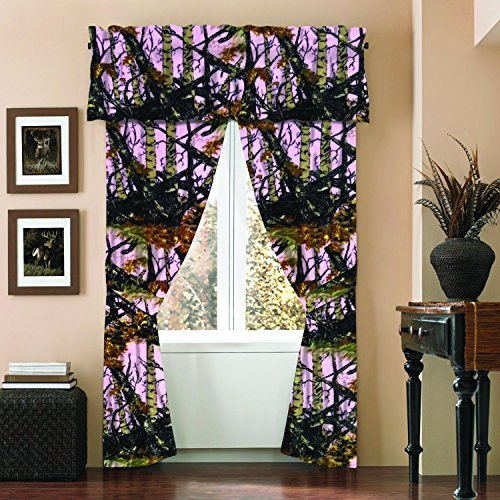 The Woods Camo Curtain & Valance 5 Piece Drape Set Pink by Regal Comfort
