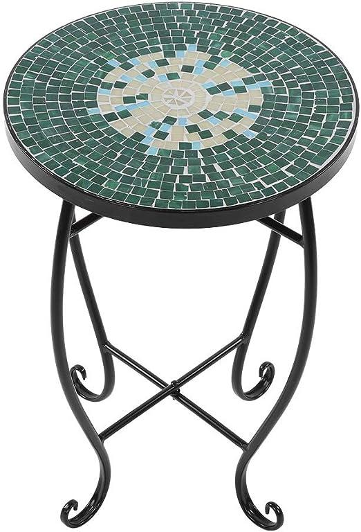 Cocoarm - Mesa Redonda para jardín (52 x 35 x 35 cm), diseño de Mosaico: Amazon.es: Jardín