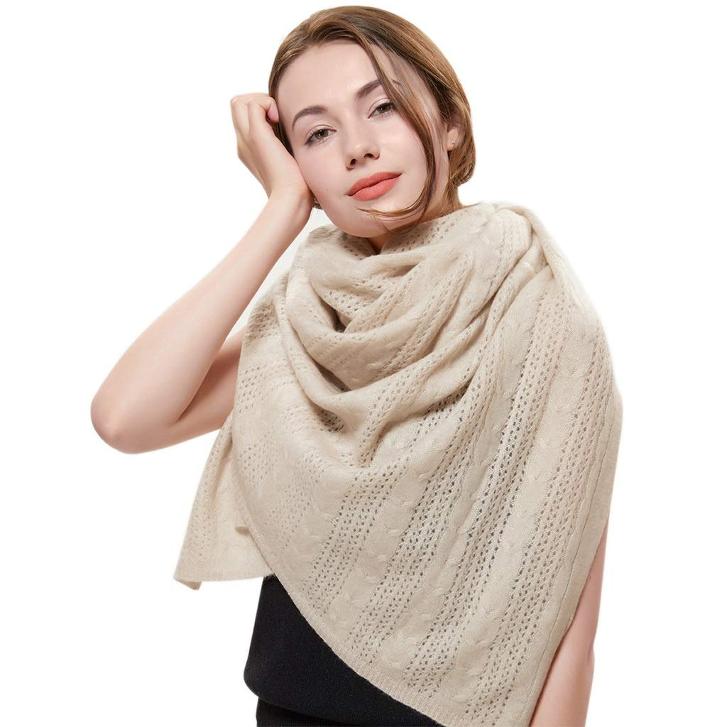 Beige Stoles Scarf Silk Cashmere Scarf Knit Shawl Autumn and Winter Warm Pure Cashmere Knit Shawl Soft Long Cloak Shawl Thick (color   White, Size   175  55cm)