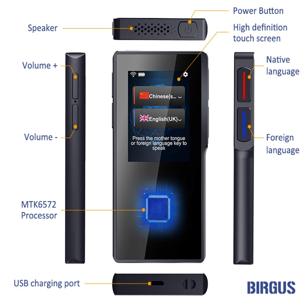 Birgus Smart Voice Translator Device,70 Languages Instant Two Way Translation with 2.4 Inch Touch Screen Portable for Travelling Learning Business Shopping Meeting by Birgus (Image #4)