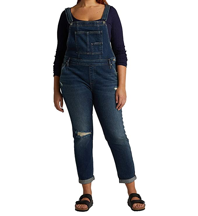 Silver Jeans Co. Women's Relaxed fit Overall, Dark Vintage, Large best juniors' overalls