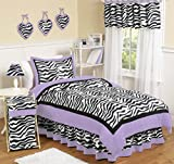 Purple Bedding and Curtain Sets Sweet Jojo Designs 4-Piece Purple Funky Zebra Childrens and Kids Bedding Girls Twin Set